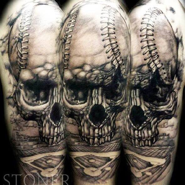 Skull tattoo (baseball).