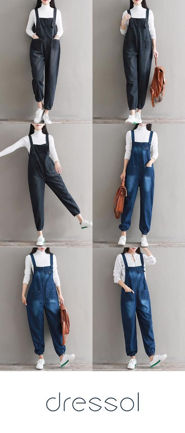Plus Size Jumpsuits & Rompers Spring Sleeveless Overhead Vintage Loose Strap Pocket Denim Jumpsuits 1