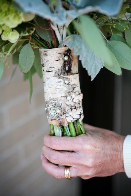 Natural birch bark wedding bouquet wrap. So unique! Backyard Garden Florist.