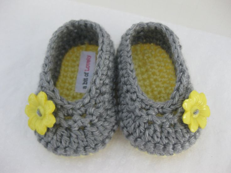 Baby Girl Shoes / Booties / Slippers Yellow Flower & Grey - YOUR CHOICE size newborn - 12 months - photo prop - clothing. via Etsy.