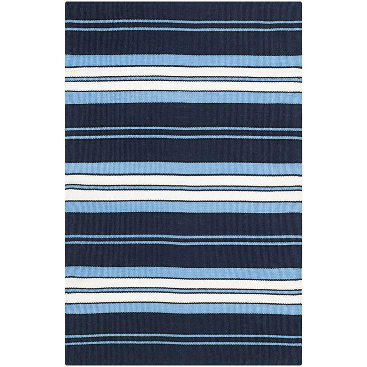 Ralph Lauren Home Indoor Outdoor Rug Racing Point Stripe In Admiral Navy Featured