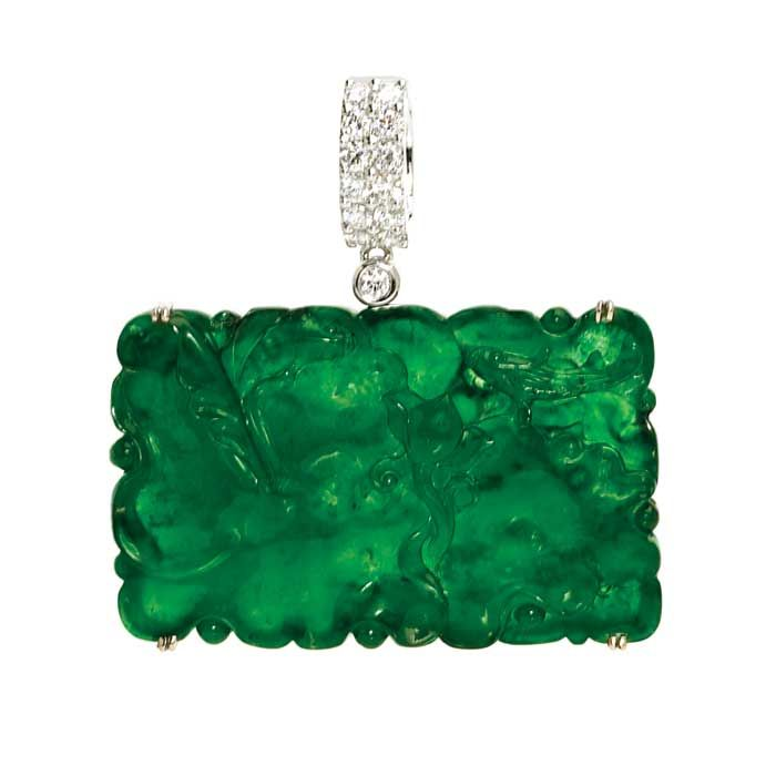 Carved Imperial jade pendant with diamonds by David Lin Jades