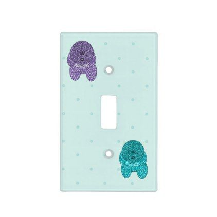 Dogs Purple Blue Dots Light Switch Toggle Cover - kids kid child gift idea diy personalize design