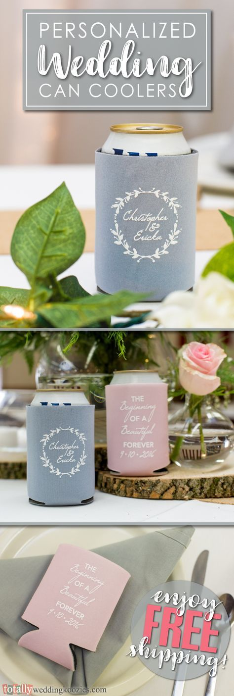 Our personalized wedding can coolers offer a unique, yet fun way to thank your guests!  Select from over 1,000 design options, 45 product colors and 25 imprint colors. Use our state-of-the-art Design Ideas tool to uniquely showcase your name, wedding date or message on these re-usable can coolers!  Use coupon code PINFREESHIP and receive FREE Ground Shipping in the Continental United States!