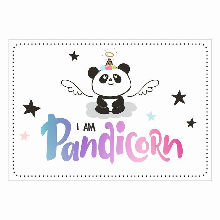 """""""I AM PANDICORN"""" - mit diesem coolen Statement verzaubert Dich das sympathische Duo Hope (Panda) & Gloria (Einhorn) auf dieser einzigartigen Postkarte."""