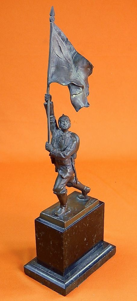 German Germany WW1 OTTO SCHMIDT-HOFER 1873-1925 Bronze Soldier Figurine Statue