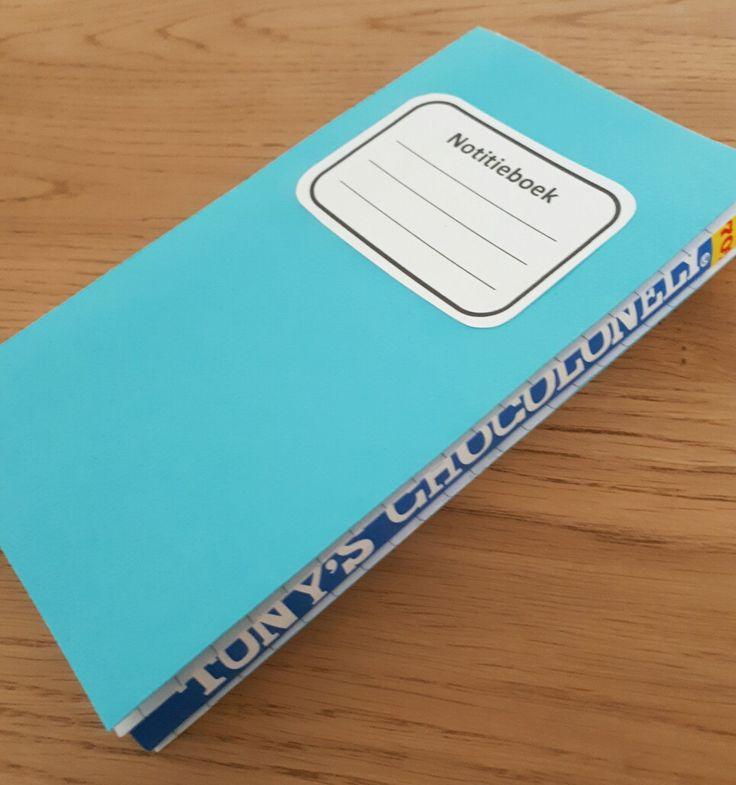 Afscheidskado juf - Notitieboekje van tony's chocolonely chocoladereep - by Tilia