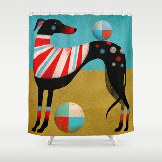 Race Dog by Terry Runyan, $68. https://society6.com/product/race-dog-b1i_shower-curtain?curator=bestreeartdesigns