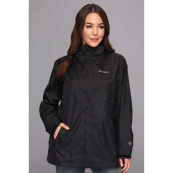 Columbia Plus Size Arcadia II Jacket Women's Coat ($75) ❤ liked on Polyvore featuring plus size women's fashion, plus size clothing, plus size outerwear, plus size coats, black, coats & outerwear, plus size, hooded coat, womens plus size rain jacket and waterproof coat