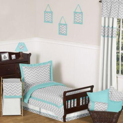 Sweet Jojo Designs Zig Zag 5-Piece Toddler Comforter Set in Turquoise/Grey - BedBathandBeyond.com