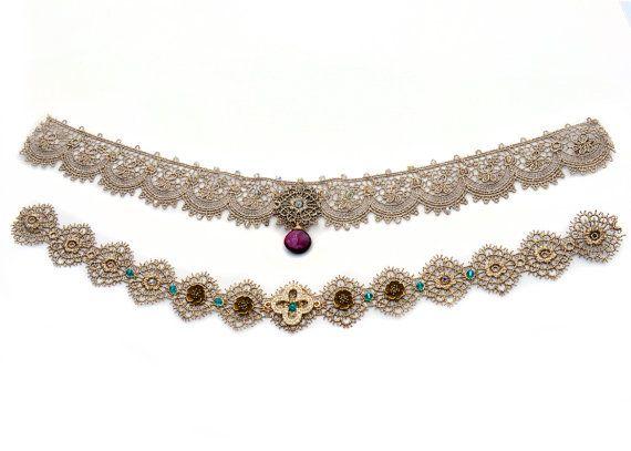 Designer Metallic Lace Chokers with Gems by SapphoByKimSmiley