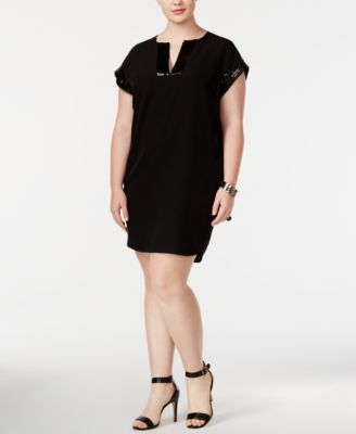 CALVIN KLEIN Calvin Klein Plus Size Sequined-Trim Dress . #calvinklein #cloth # dresses