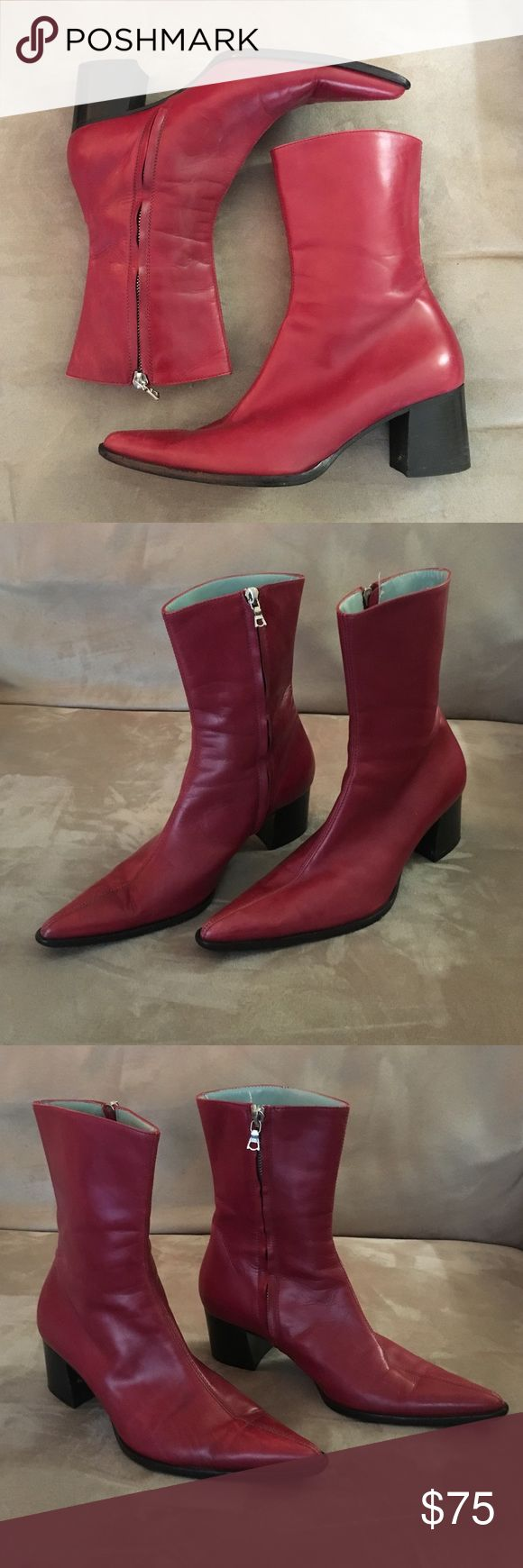 "Sigerson Morrison Italian red leather boots 6B Trendy and fun Sigerson Morrison Italian red leather boots in a size 6V. Boots feature zip side with 2"" chunk heel, 7 1/2"" boot height from back of heel, 9"" around ankle, and 10"" around top of boot. Sigerson Morrison Shoes Heeled Boots"
