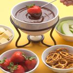 Peanut Butter and Chocolate Fondue. #Peanut butter and chocolate come together to take fondue to a new level. Dip your favourite fruits in Peanut Butter and Chocolate Fondue for an irresistible ending to a dinner party or a late night study treat. #recipe