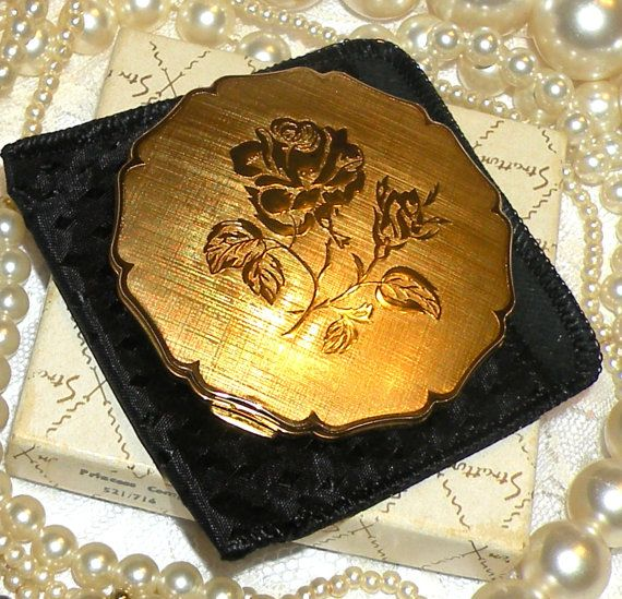 Vintage Stratton Powder Compact Gold Rose Motif Compact
