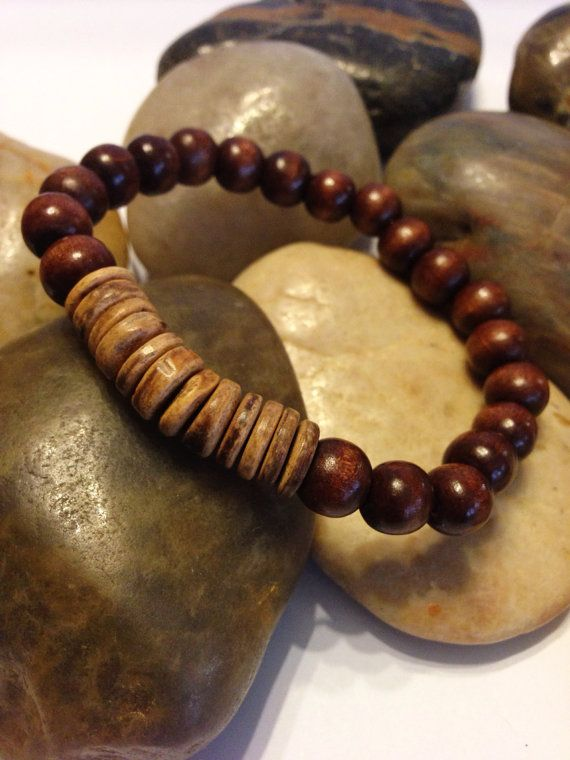 Men's Braceletbeaded stretch wooden bracelet by UniqueDesignsbyZee, $10.00