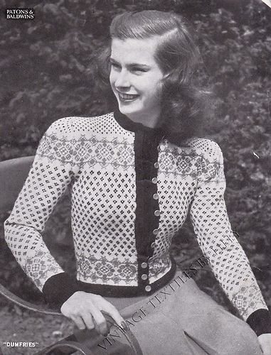 Vintage 1940's Knitting Pattern Scottish Fair Isle Cardigan Dumfries B5 157 | eBay