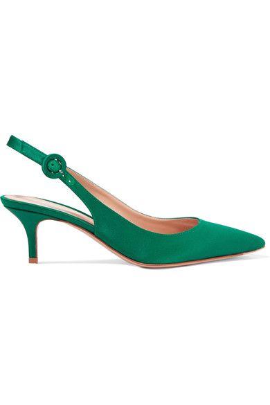 Gianvito Rossi - Satin Slingback Pumps - Emerald - IT41.5