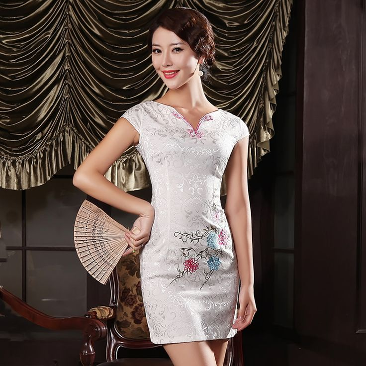 Attractive Embroidery Modern Cheongsam - White, Chinese Dresses Costumes,Qipao