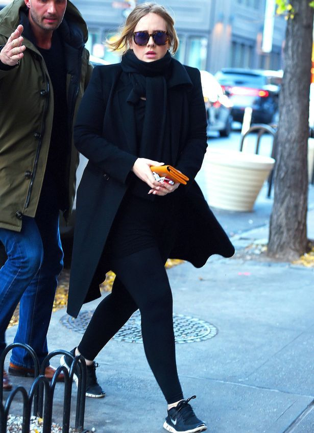 Adele in all black in New York