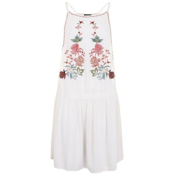 Women's Topshop Embriodered Sundress ($52) ❤ liked on Polyvore featuring dresses, hippie dresses, embroidery dresses, rock dress, hippie sundress and embroidered dress