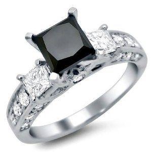 Angara Ribbon Shank Solitaire Princess Black Diamond Ring in 14K White Gold AeKmfSithv