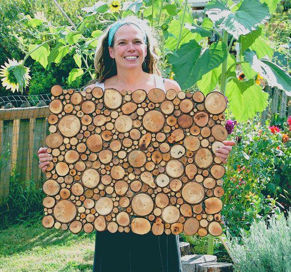 Rustic Circular Wood Tree Slice Centerpiece Decorative