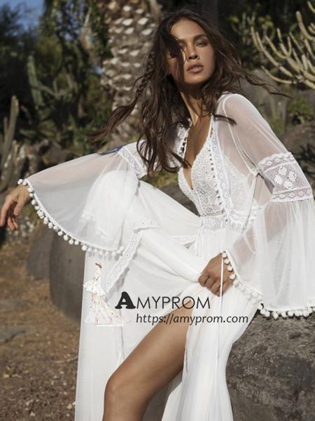 4f438e5a7b Romantic Spaghetti Straps Boho Wedding Dress Summer Lace Open Back Wed –  AmyProm
