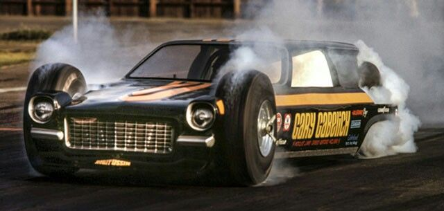 Here's an incredible photo of Gary Gabelich's outrageous four-wheel-drive, rear-engine Vega panel, caught in mid-turmoil by another legendary ace shooter, Jere Alhadeff, shortly before its demise at Orange County Int'l Raceway