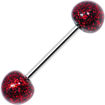 Black Red Resin Ultra Glitter Barbell Tongue Ring   Body Candy Body Jewelry