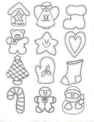 Holiday patterns - angel, Christmas stockings, candycane, Christmas tree, gingerbreadman, snowman, birdhouse, mitten, bear, star, heart...: