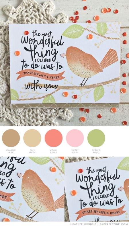 July 2017 - Kraft, Fine Linen, Melon Berry, Sweet Blush, Spring Moss (Heather Nichols)