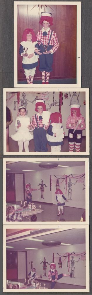 4 Vintage Color Photos Cute Boy & Girl in Raggedy Ann Costumes Halloween 609178