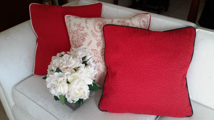 Scatter Cushion Cover Red & Ivory - Designer Decorative Throw - Aussie Made