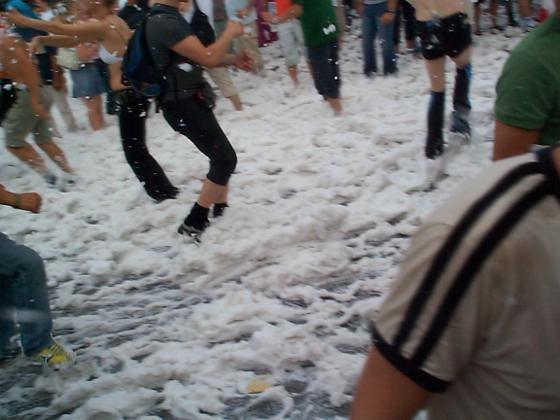 Streetparade Zurich. Happy foam dancing
