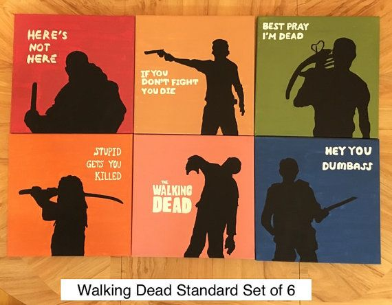 Calling all diehard fans of The Walking Dead! This set of six 12x12 acrylic paintings on stretched canvas features Rick, Michonne, Glenn, Daryl,