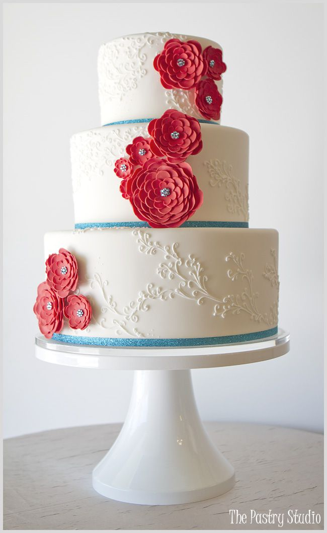Red and Aqua Wedding Cake by The Pastry Studio featuring Sugar-Paste Florals with Aqua Swarovski Crystal Centers.