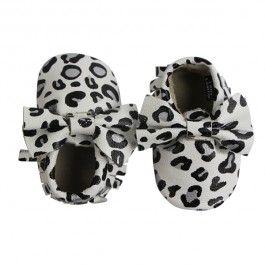 Black & White Leopard Print Bow Moccs