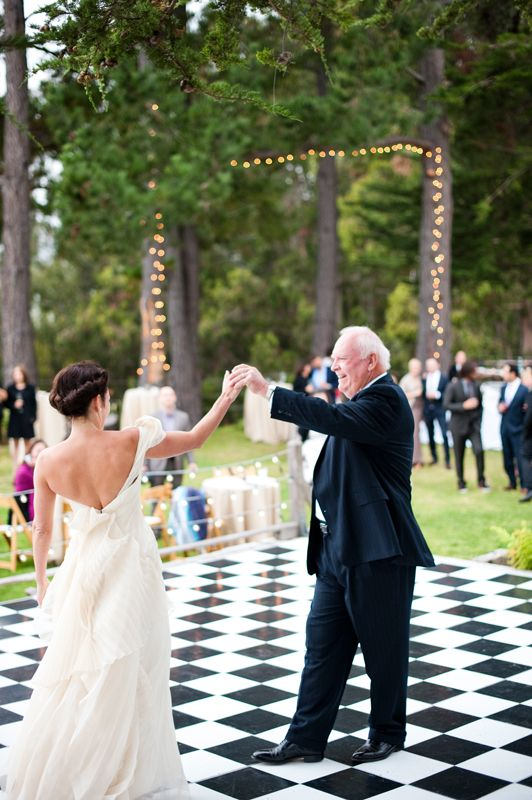 Black and white checkered dance floor.  Photo by Nancy Neil.