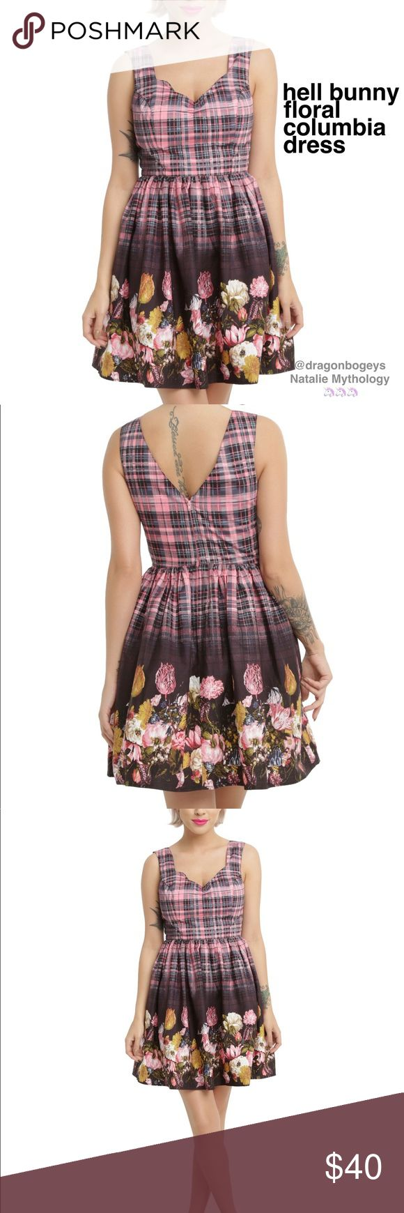 """Hell Bunny Floral Columbia Dress Cute pink and blue tartan plaid pattern dress with soft details like the floral garden print and scalloped, gathered sweetheart neckline. Back zipper closure. Side pockets. Fabric is 100% cotton. Length is 36"""", bust is 20"""" laid flat, waist is 16.5"""" laid flat. Brand new, only tried on. Hell Bunny Dresses"""