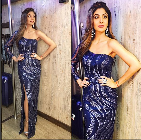 Shilpa Shetty ,Wearing One Shoulder Sequences Work Gown