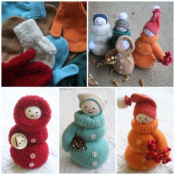 mitten snowman DIY F