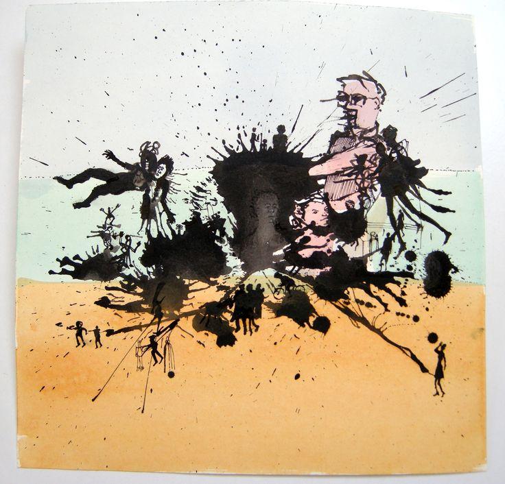 Pim van Halem. Much ado #V Uit kleine reeks inkttekeningen, uitgewerkt met vloeibare acryl. Mensen, dieren, dingen doemen op in de woestijn.