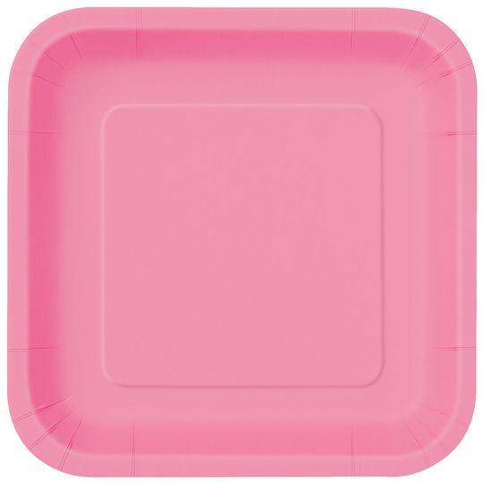 "9"" Square Hot Pink Dinner Plates, 14ct"
