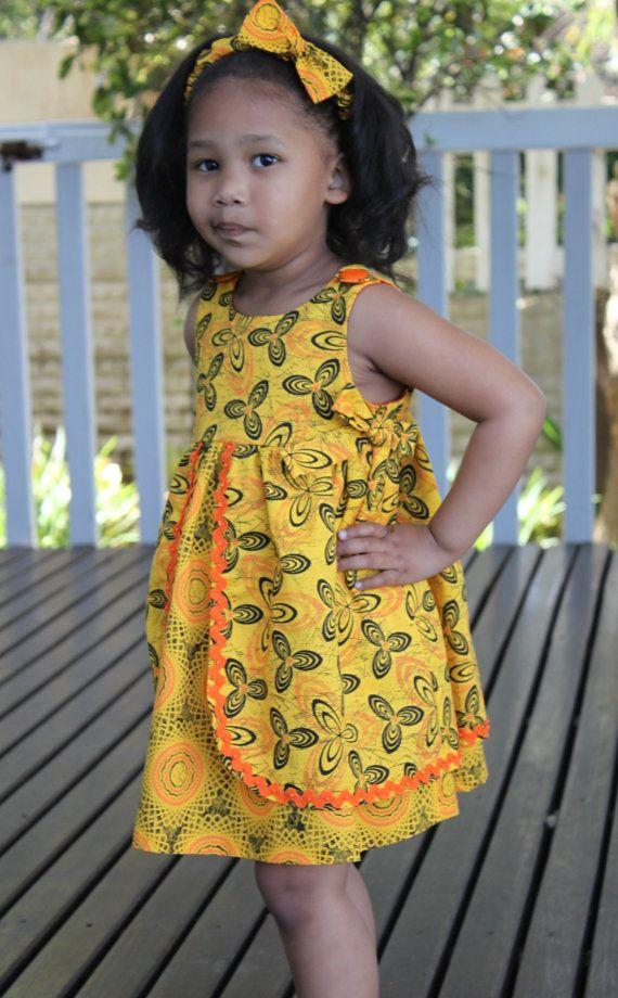 Girls Dress Jabula 'Happy'. Yellow and pink by JenniDezigns