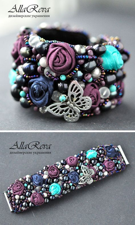 "Beaded Bracelet with Fabric Flowers | Браслет ""Сад чудес"""