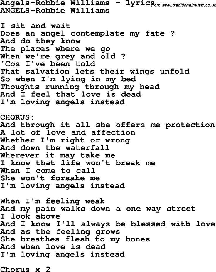angel robbie williams lyrics - Cerca con Google
