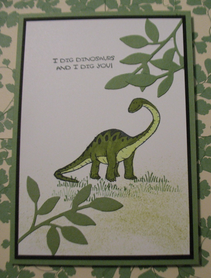 Dinosoar Card Made with Dinoroar Stamp set From Stampin' Up!. Great for kids cards