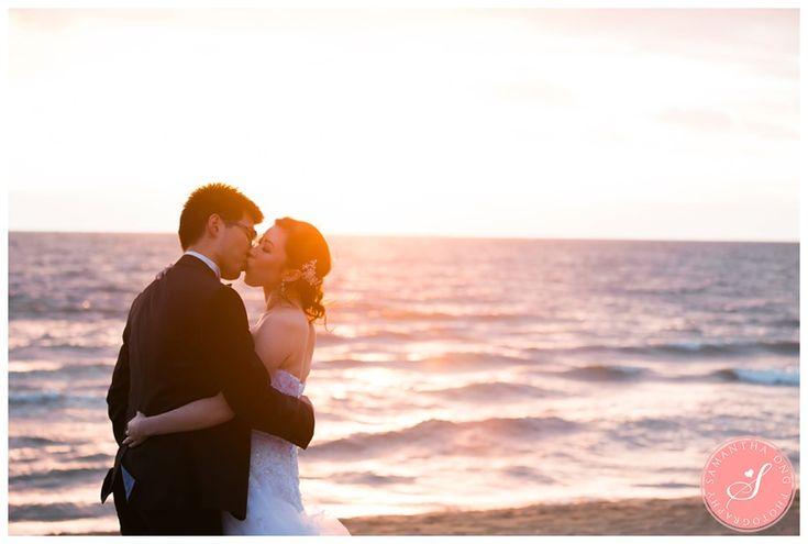 Sunset Bride & Groom Portraits | Melbourne Encore St Kilda Beach Wedding Photos: Jeena & Run  | © 2016 Samantha Ong Photography www.samanthaongphoto.com #samanthaongphoto