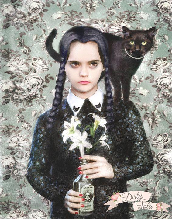 Wednesday Addams Gothic Portrait Illustration Art by DirtyLola                                                                                                                                                                                 Más